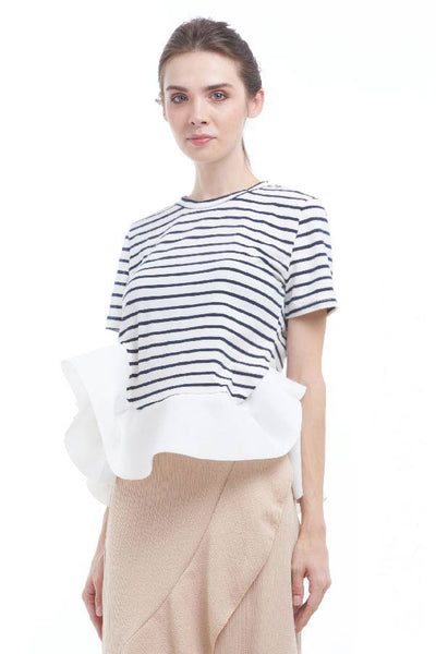 BACKORDER: Striped tee with bias ruffle hem