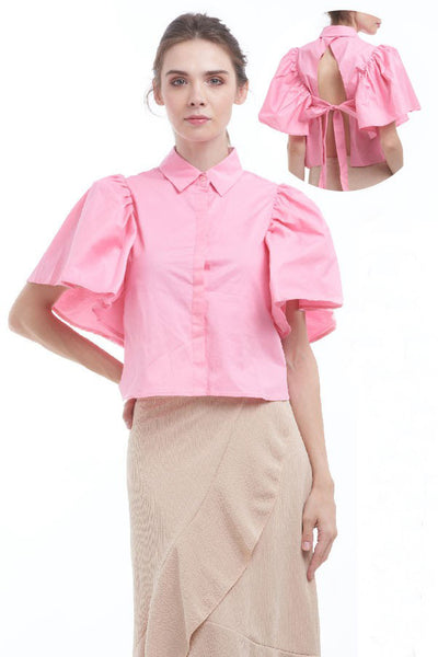 Bubblegum pink open-back shirt with bow
