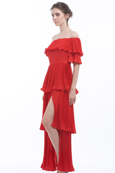 """Pleats to meet you"" off-shoulder maxi dress"