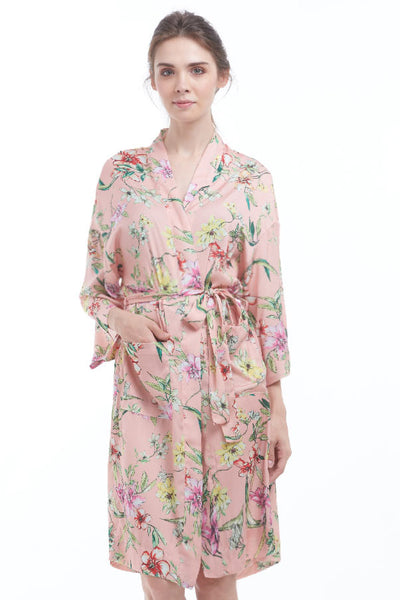 BACKORDER: English garden silky kimono robe (Rose pink)