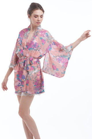 BACKORDER: Mythical floral robe with kimono sleeves