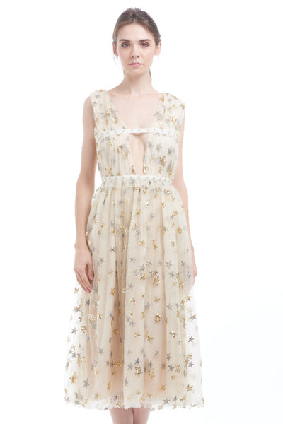 BACKORDER: Sequin starry deep-V tulle midi dress