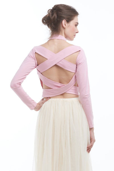 Criss-cross backless highneck blouse