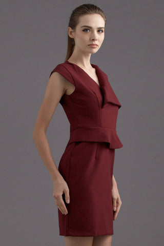CLEARANCE: Asymmetrical drape collar peplum shift dress