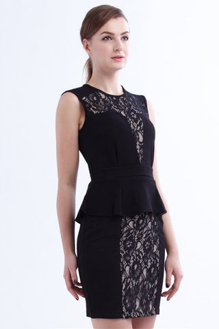 CLEARANCE: Lace panel peplum dress