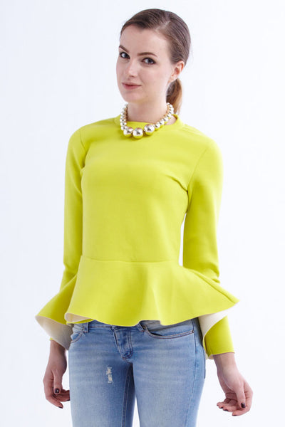 CLEARANCE: Neon neoprene peplum blouse with exposed backzipper