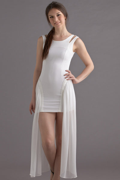 CLEARANCE: Cutout shoulder dress with chiffon overlay train