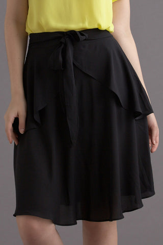 CLEARANCE: Peplum ballerina flare skirt with ribbon-sash (Black)