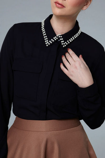 CLEARANCE: Pearl-dotted collar shirt