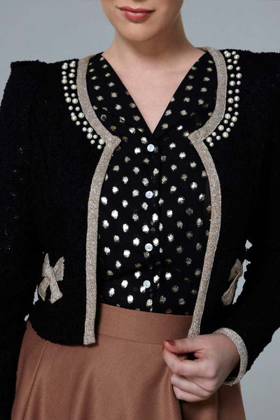 CLEARANCE: Metallic bow cardigan
