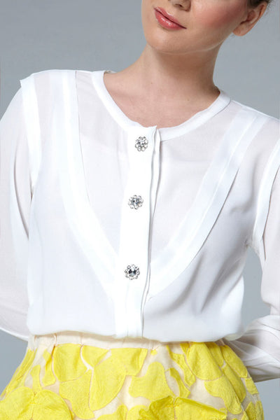 CLEARANCE: Diamante button crepe paneled shirt