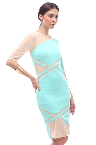 CLERANCE: Geometric paneled asymmetric-sleeve dress (Turquoise)