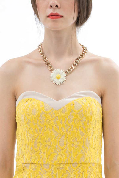 CLEARANCE: Sunshine floral lace overlay tube dress