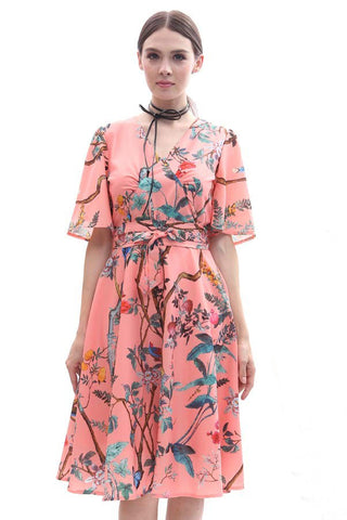 Tropical flora print kimono midi dress