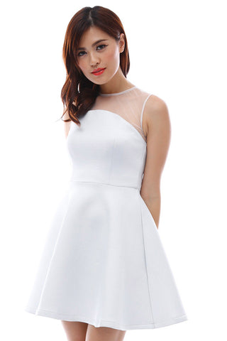 Neoprene flare dress with concave mesh neckline (White)