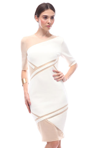 Geometric paneled asymmetric-sleeve dress (White)