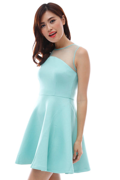 Neoprene flare dress with concave mesh neckline (Mint)