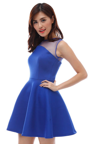 Neoprene flare dress with concave mesh neckline (Electric Blue)