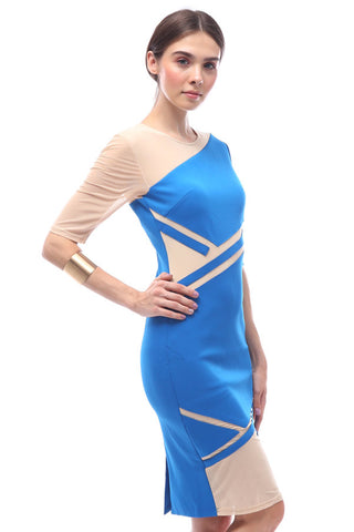Geometric paneled asymmetric-sleeve dress (Azure)