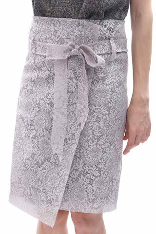 Lace embossed neoprene wrapover skirt with sash