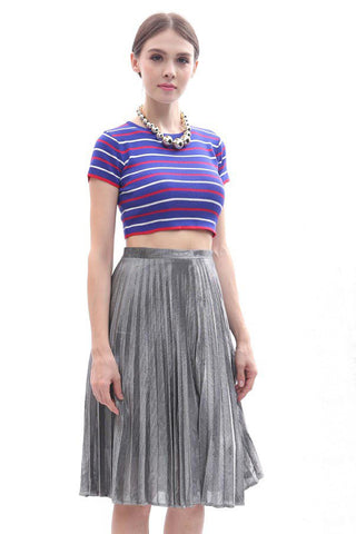 Metallic pleated midi skirt (Silver)