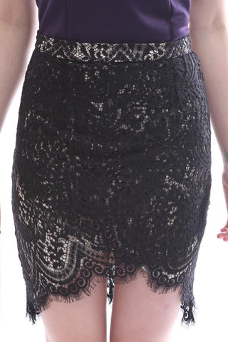 CLEARANCE: Eyelash lace scallop overlay skirt (Black)