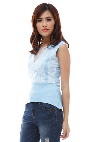 Block lace peplum top with exposed backzipper