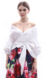 BACKORDER: Balloon-sleeved off-shoulder wraparound blouse