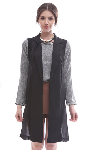 Copy of Chiffon overlay long tuxedo vest (Black)