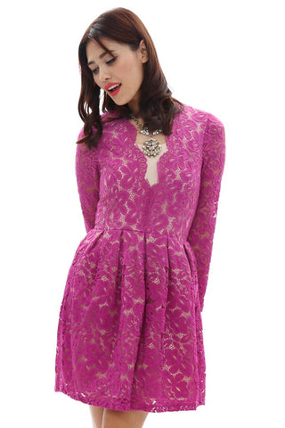 CLEARANCE: Jewel scalloped front lace overlay dress