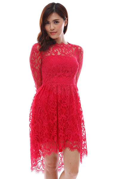 CLEARANCE: Intricate lace scalloped boatneck mermaid tail dress (Red)