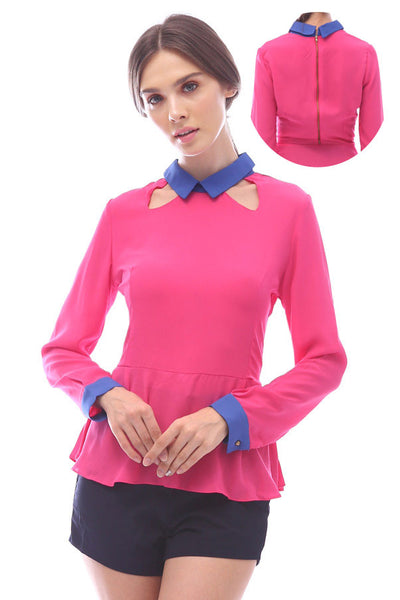 CLEARANCE: Cutout collar peplum blouse with exposed backzipper