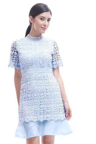 Highneck eyelet lace dress with organza hem