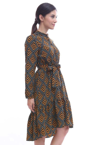 CLEARANCE: Geometric print highneck dress with ruffled bias hem