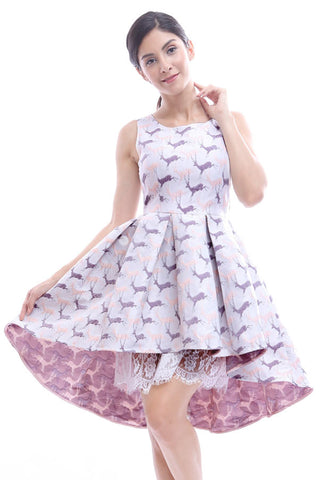 Pastel reindeer brocade high-low dress