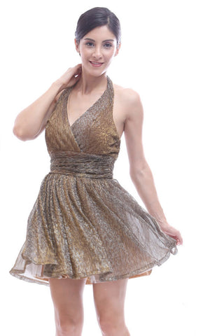 Gold lamé halter dress
