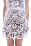 Baroque floral embroidered lace dress with exposed zipper