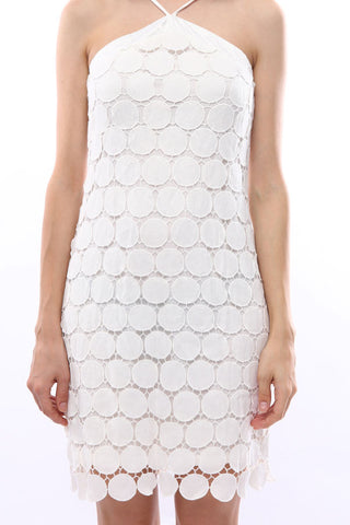 Circular crochet lace halter dress (White)