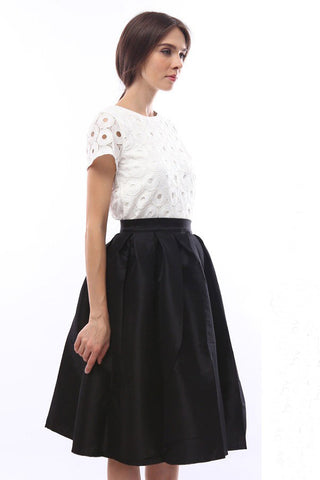 Opal black midi full skirt