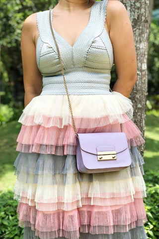 PREORDER: Mint ombré tiered tulle bustier dress