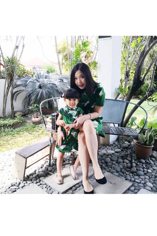 MOM & DAUGHTER: Tropical palm leaf boxy qipao (PREORDER)
