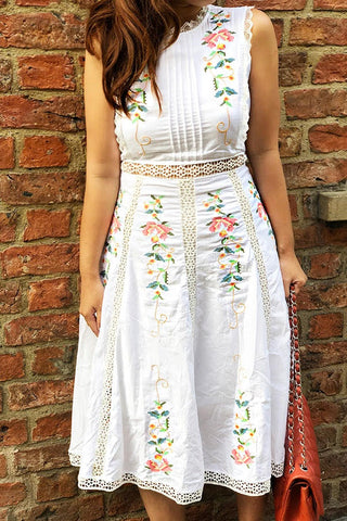 PREORDER: Cross-stitch florals crochet-trimmed midi dress