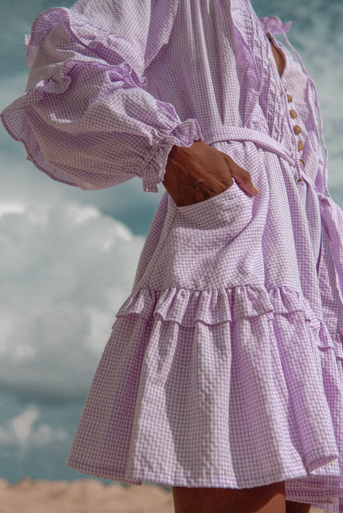 Venice Beach Gingham Smock - lilac