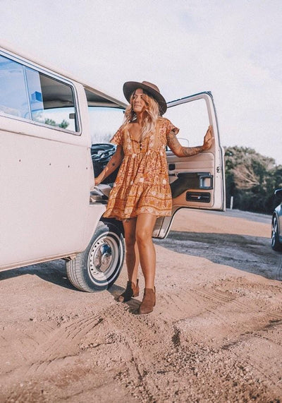 Starry Mini Dress - amber *PRE-ORDER*