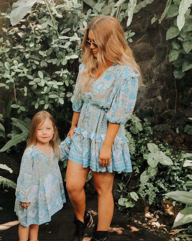 Indiana Smock Dress - turquoise