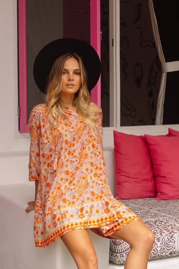 Woodstock Mini Boho Dress - sunrise