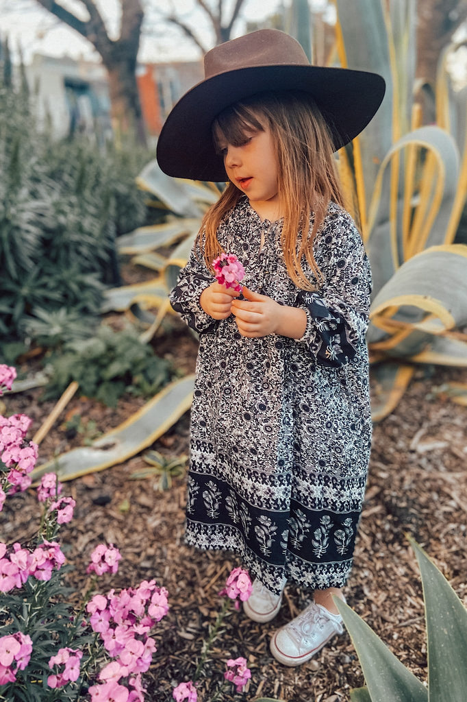 Little Meteorite Boho Dress - charcoal