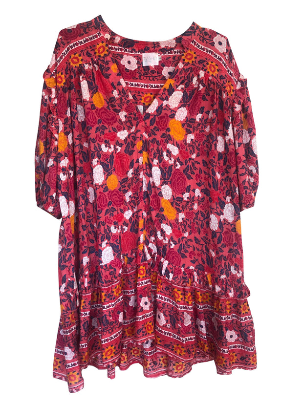 Indiana Smock Dress - ruby
