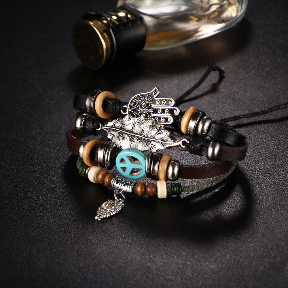 Handmade Leather Bracelet with Owl Pendant