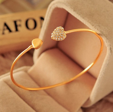 New Fashion Crystal Double Heart Bow Bracelet